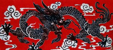 Dragon on a Red Background